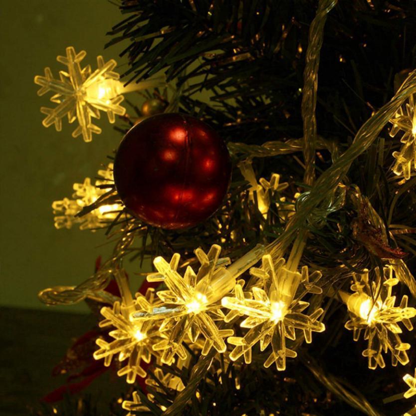 Snowflake Christmas Lights.3m String Fairy Lights Snowflake Xmas Tree Decor Christmas