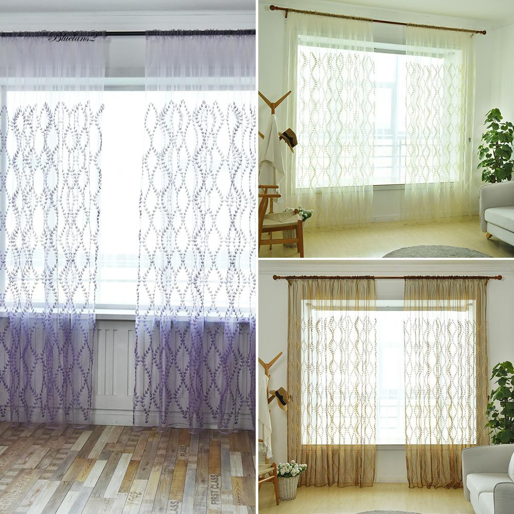 Cane Leaves Rattan Window Curtain Sheer