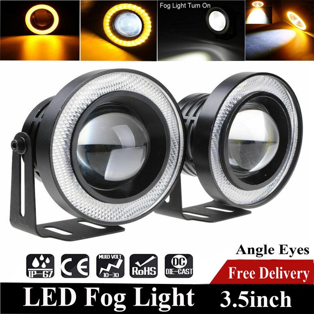 Fits Chevrolet ALL Projector Cob LED Fog DRL Spot Lights Angel Eyes Pair