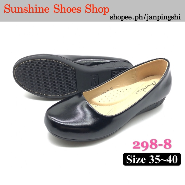 298-8 Black School Shoes/Office Shoes/Wedge For Ladies