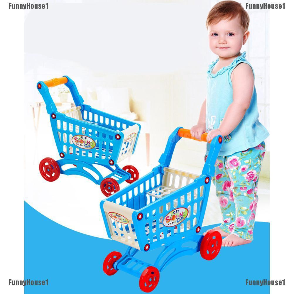 NEW Miniature Play Toy Shopping Kids Childrens Supermarket Trolley Blue