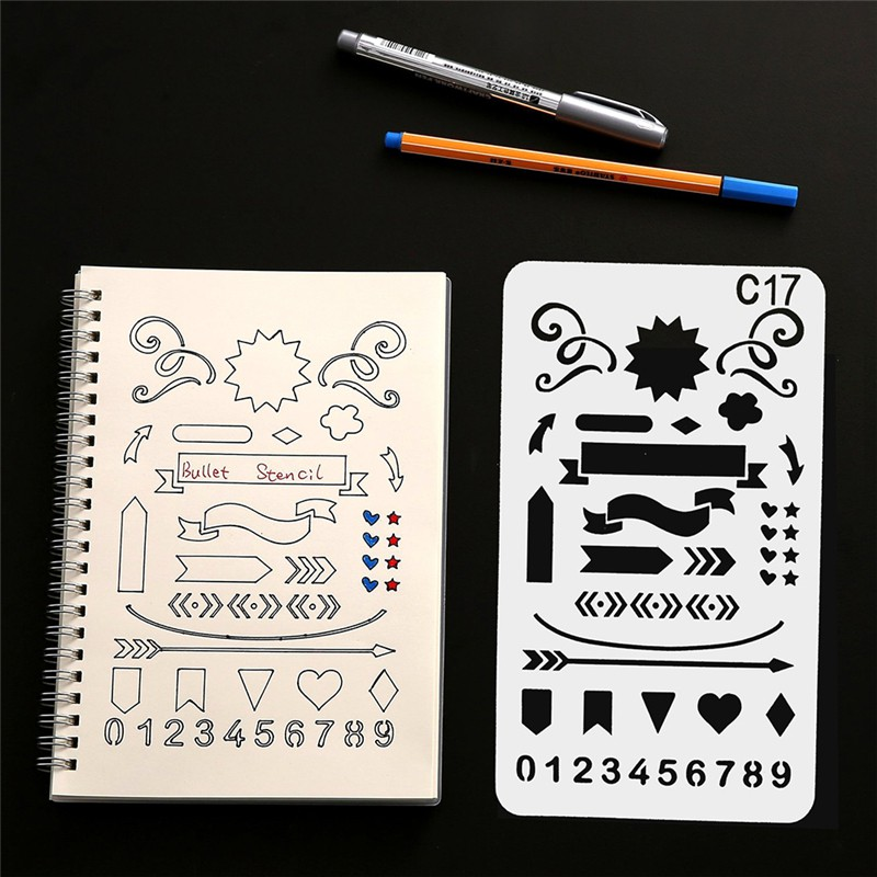 8pcs Kids Drawing Molds Plastic Children Painting Stencils Diy Paper Art Craft Card Label Scrapbook Bookmark Educational Toy Home