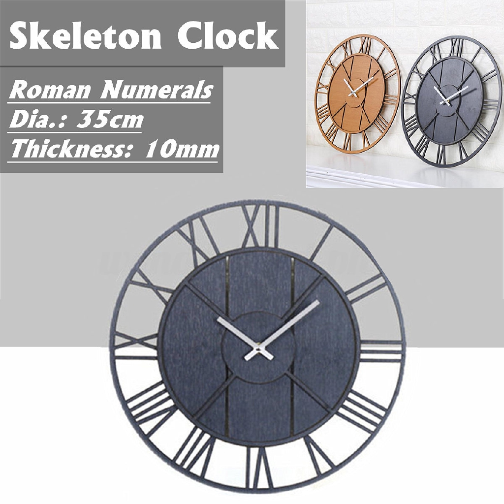 Modern Large Skeleton Wall Clock Romantic Numeral Home