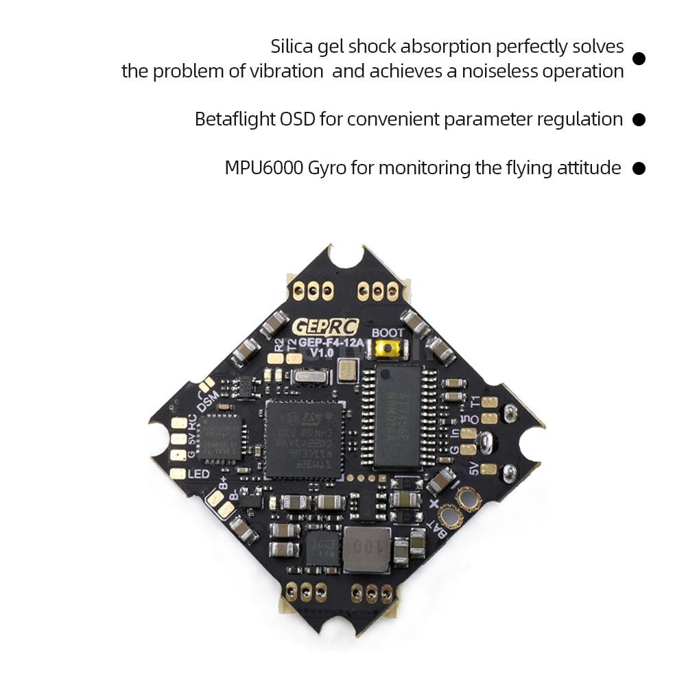 GEPRC GEP-12A-F4 Flight Control with OSD 12A Blheli_S ESC for Mini  75mm-85mm FPV RC Racing Quadcopte