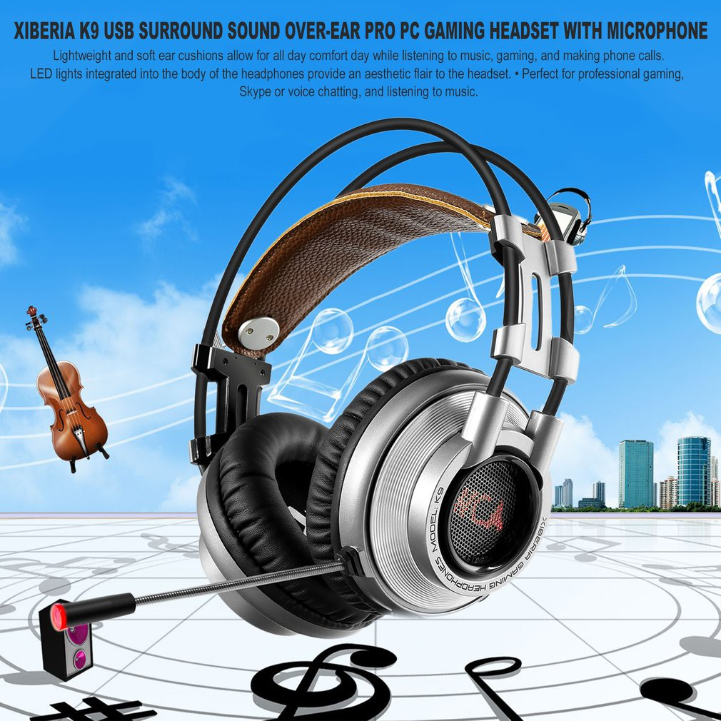 💕AS💕Xiberia K9 USB Surround Sound Over-Ear Pro PC Gaming Headset ...