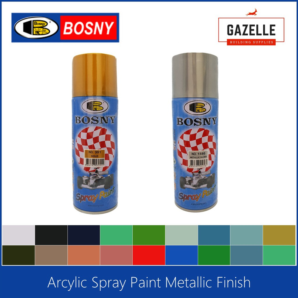 Bosny 100% Acrylic Spray Paint Metallic Finish | Shopee ...