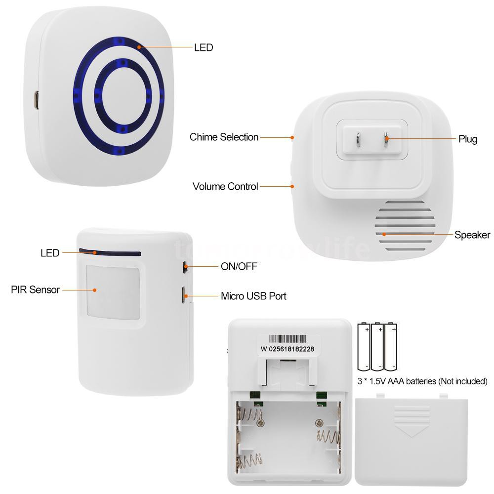 38 Chime LED PIR Motion Sensor Home Door Bell Security Driveway Welcome Alarm US