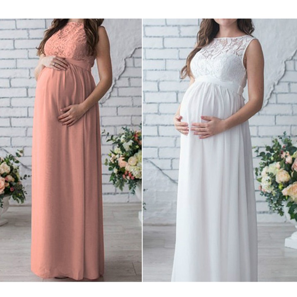1f23d9437f Women Pregnant Lace Long Gown Maxi Maternal Dresses