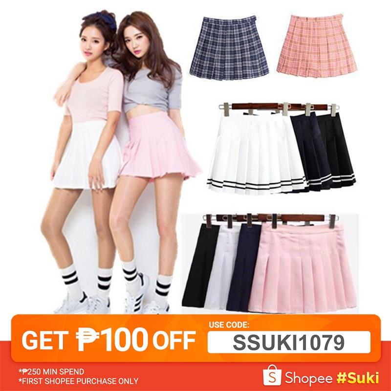 Women Short High Waist Uniform Strap Solid Punk Pleated Mini A Line Skirt