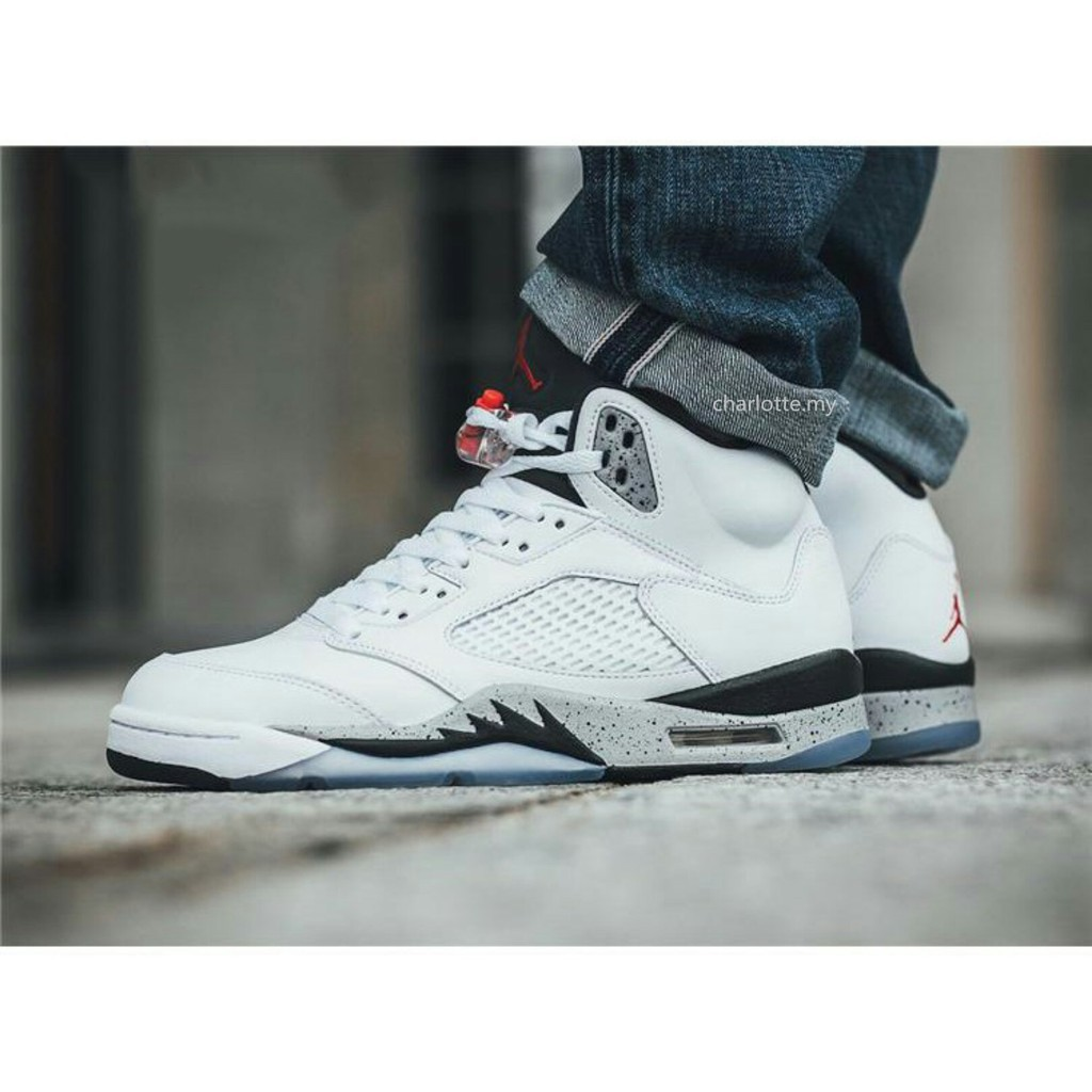 huge selection of be8da 5e996 【ready stock】original Air Jordan 5 White Cement AJ5 basketball shoes men  boots