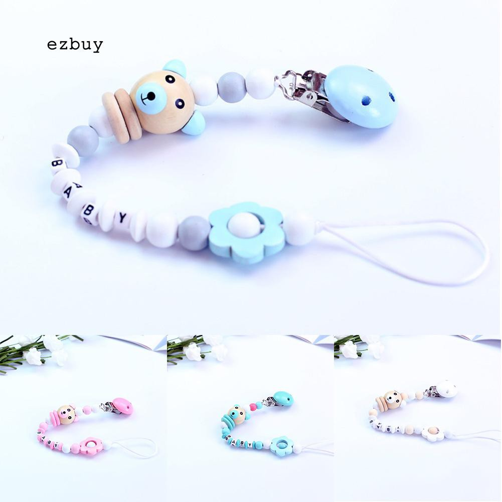Baby infant wooden beaded pacifier holder clip nipple teether dummy chain gift;