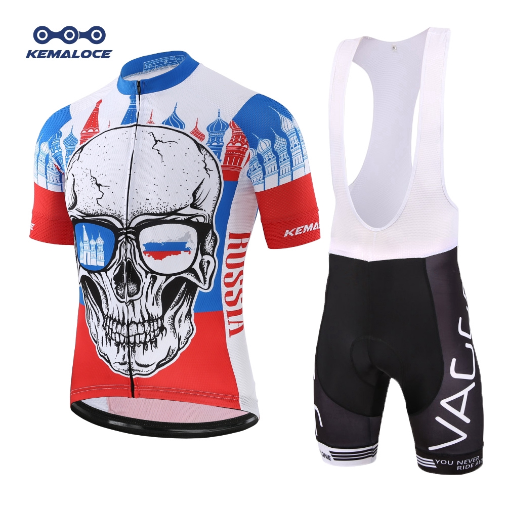 Spoz Men Cycling MTB Cartoon Skull Gel Pad Jersey Set