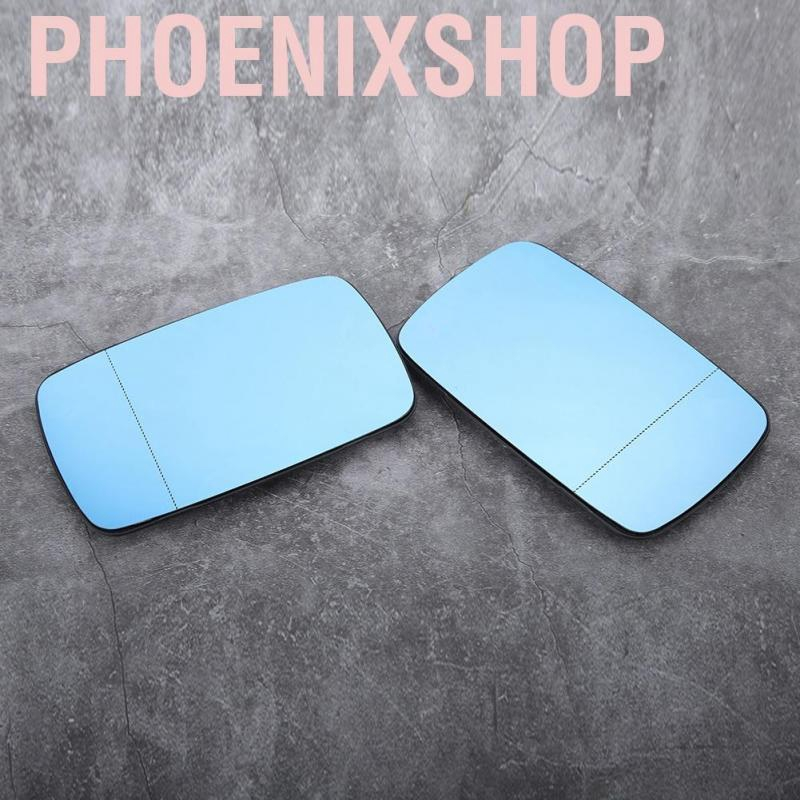 Heated Mirror Glass 2pcs Car Side Heated Anti-Fog Rear View Mirror Glasses Replacement Accessories Blue Fit for E39 E46 97-06