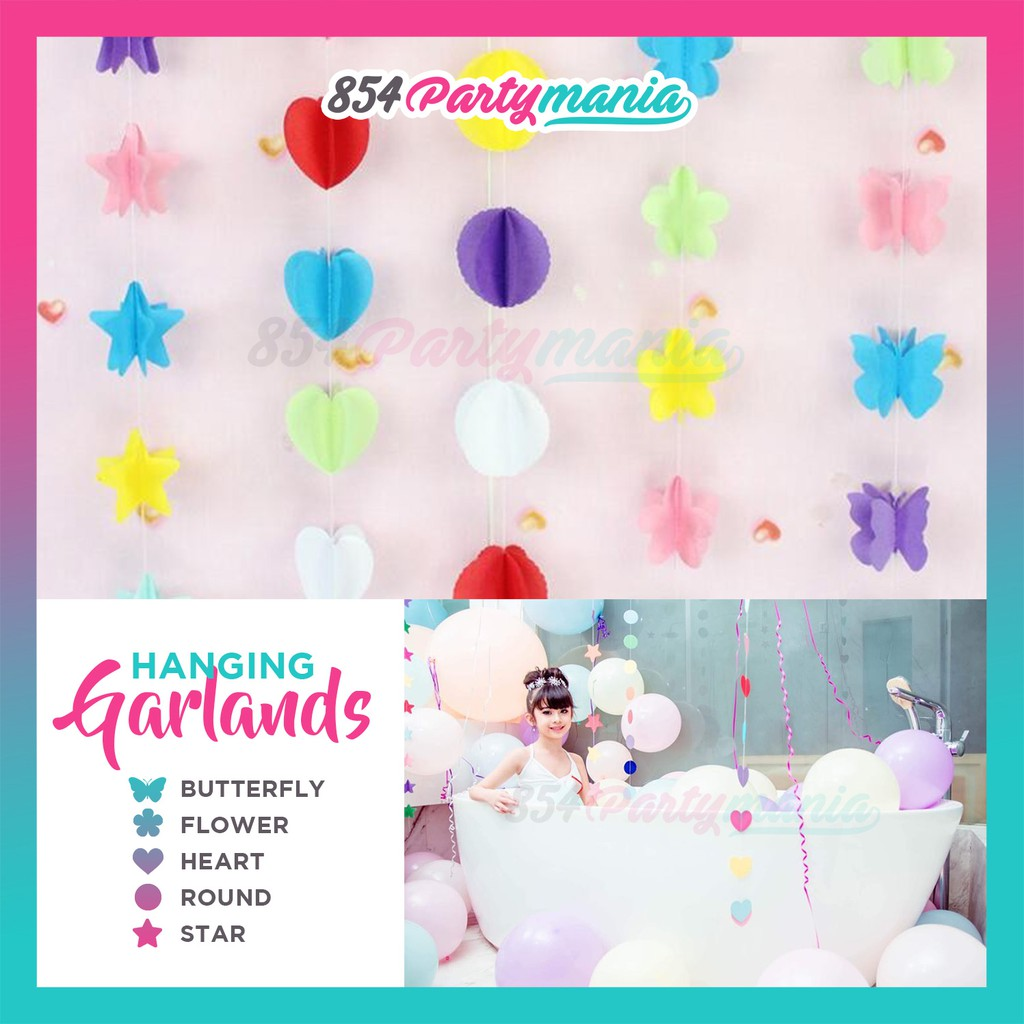 Fun Express Butterfly Tissue Garland Streamer Party Supplies Decoration for Birthday Bridal Shower and Baby Shower Party