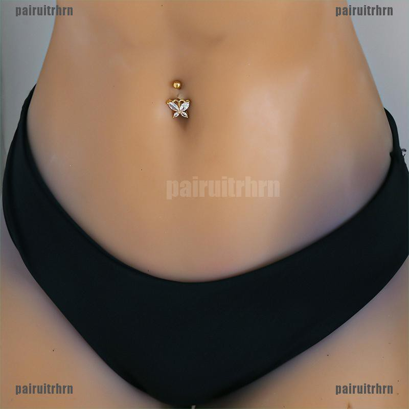 Stainless Steel Piercing Belly Button banana with crystal glitter jewel 10mm BNL-3193