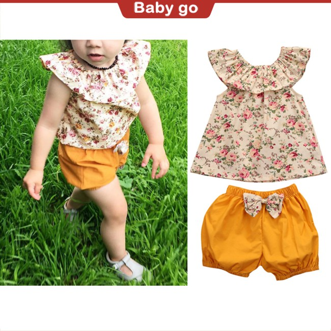 2PCS Newborn Toddler Baby Girls Ruffle Off Shoulder Floral Tops and Bowknot Decor Shorts Set