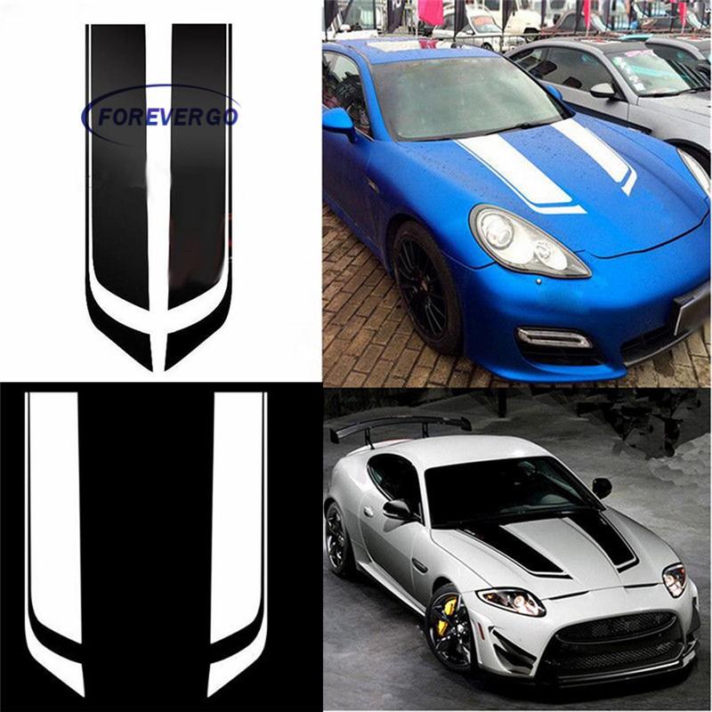 Universal Car Racing Dual Stripe Hood Decal PVC Vinyl Graphics Sticker Decor New