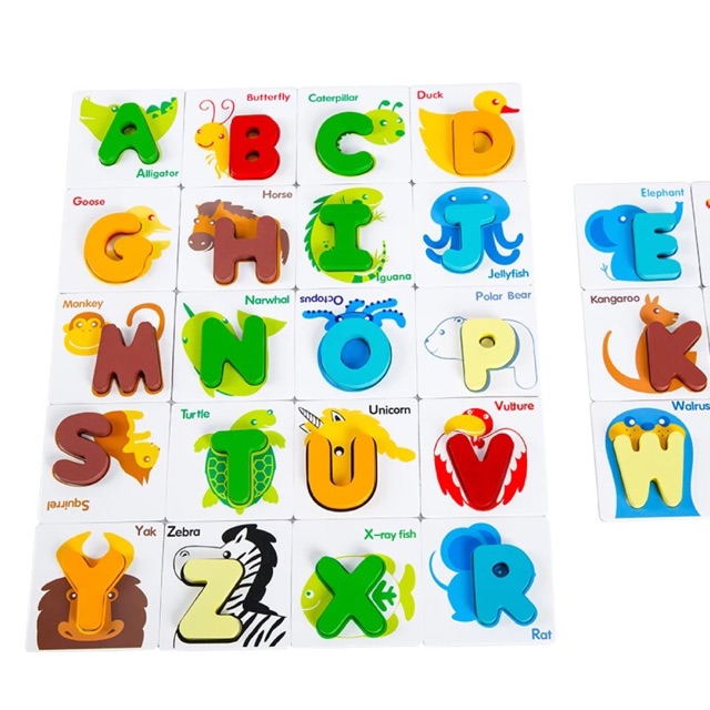 Wooden Alphabet Puzzle Flash Card