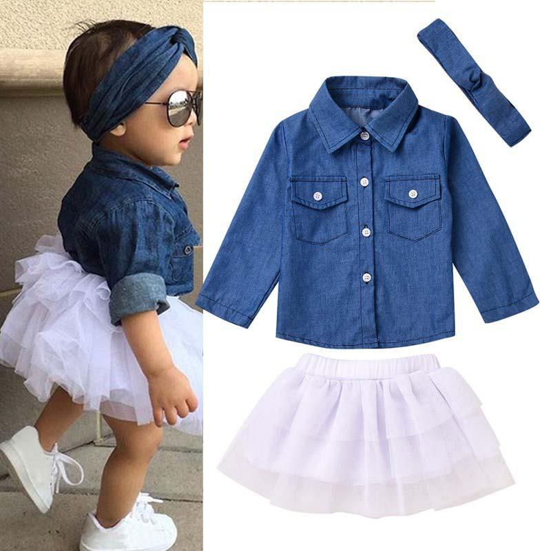 e7d9fd6bc Summer Baby Girls Denim Shirts+Leopard Culotte Skirt+Cute Headband ...
