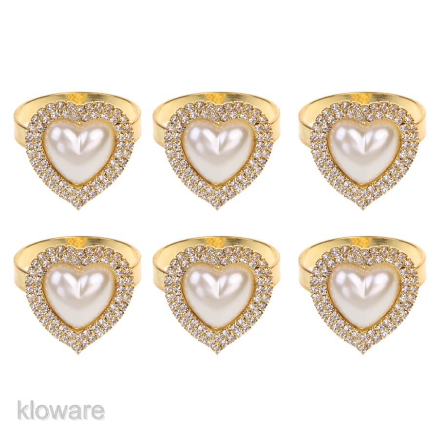 6x Diamond Napkin Ring Serviette Buckle Holder Wedding Party Décor 43mm