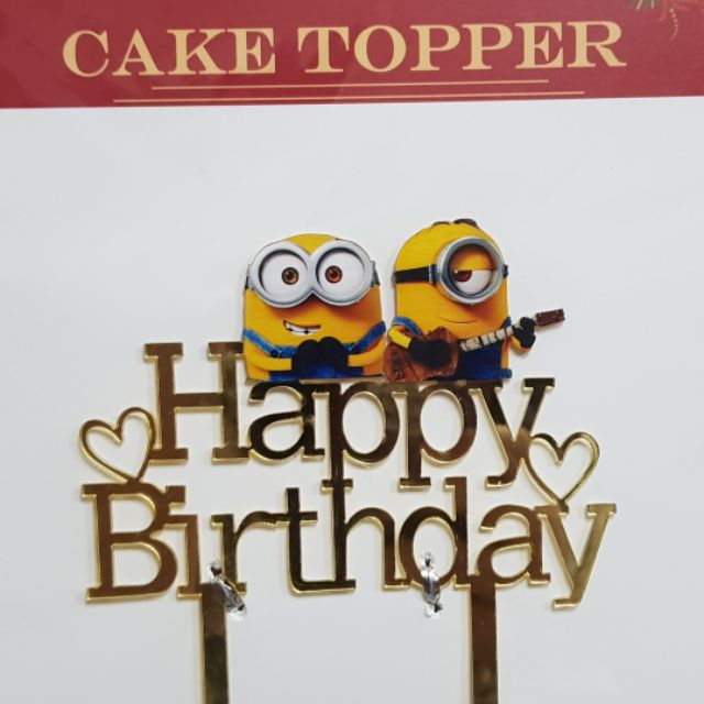 Superb Minions Happy Birthday Acrylic Cake Topper Shopee Philippines Personalised Birthday Cards Cominlily Jamesorg