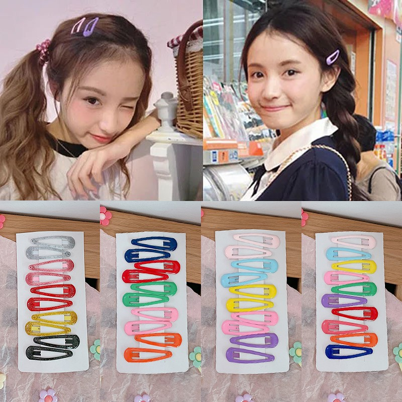10Pcs//Pack Candy Color Hairpins Snap Hair Clip for Kids Barrettes BB Clips New