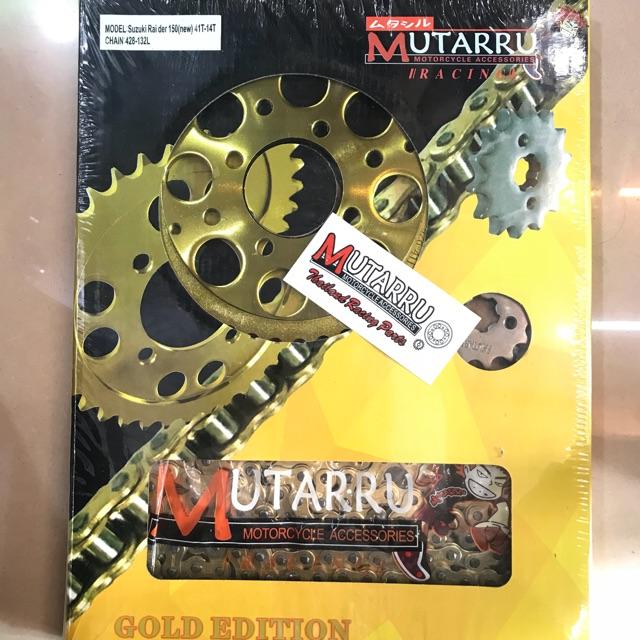 Osaki Lucky Gold Sprocket Set Raider 150: Chain Sprocket Set Gold Raider150 Mutarru Brand 43t