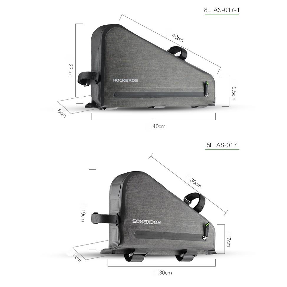 ROCKBROS Waterproof Bag Triangle 5L Capacity Cycling Tube Frame Bag Black Gold