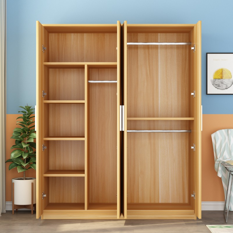 Simple Wardrobe Modern Economical Solid Wood Panel Bedroom Rental Room With Small Apartment Storage Household Cabinets Shopee Philippines