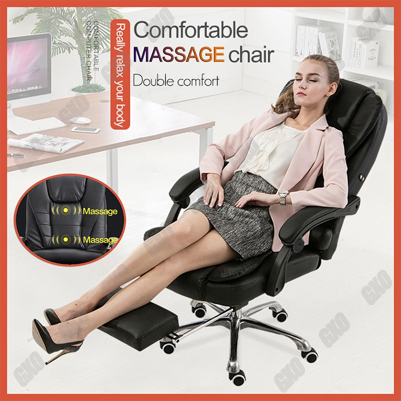 Leather Office Chair Boos High Back Executive Office Chair Usb Massage Comfort Reclining Shopee Philippines