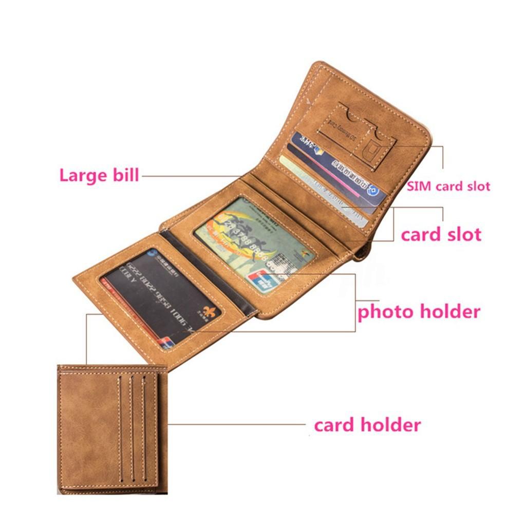Vintage Leather Wallet For Men Bifold Purse Money Clip Photos Cards Coins Holder