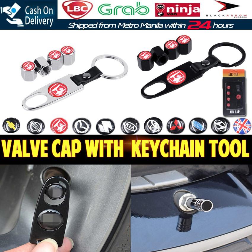 09bdf87ebc1a 4PCS Metal Wheel Tire Valve Cap Key Chain Keychain Tool