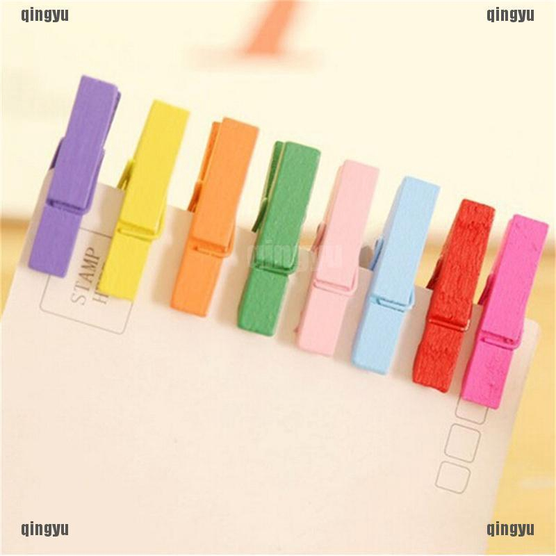 50Pcs Mixed Color Mini Wooden Clothes Photo Paper Peg Clothespin Craft Clips