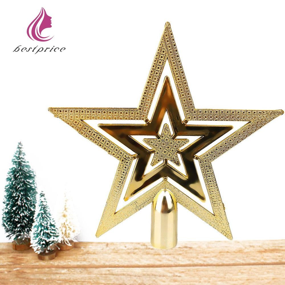 Bestprice Christmas Tree Decorative Golden Topper Star Xmas Party Ornament Decor