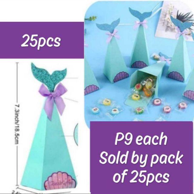 12 Packs Mermaid Paper Bags Party Gift Mini Goodie Bag Blue