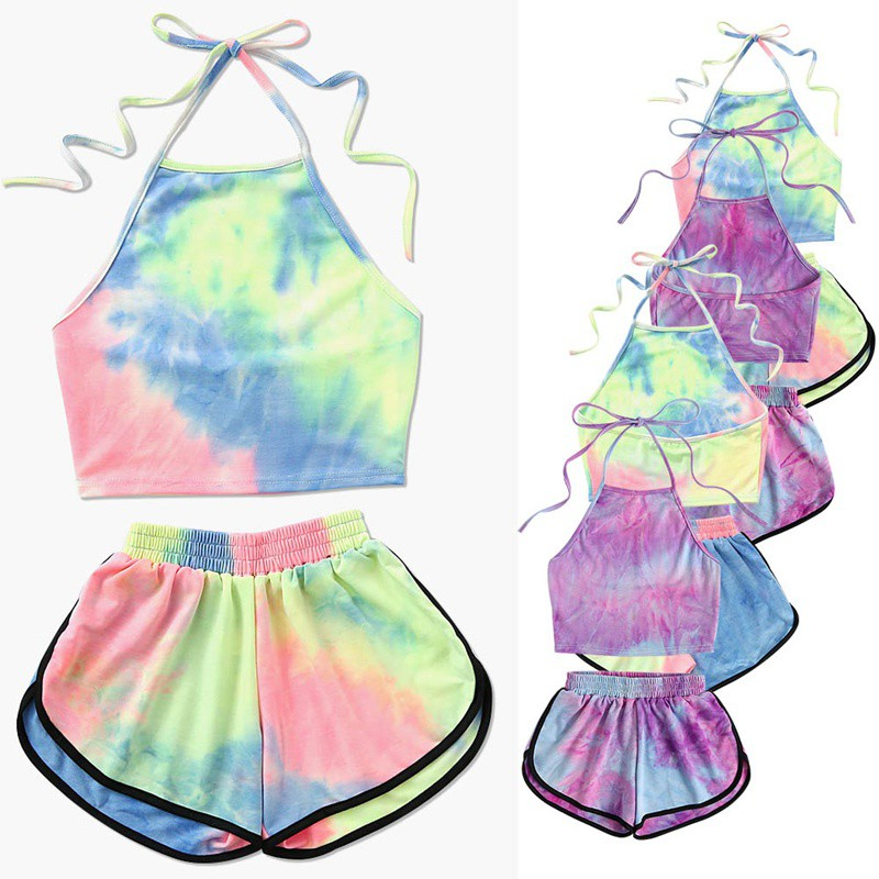 Womens Two Piece Set Tie-Dye Gradient Colored Printed Halter Backless Crop Top