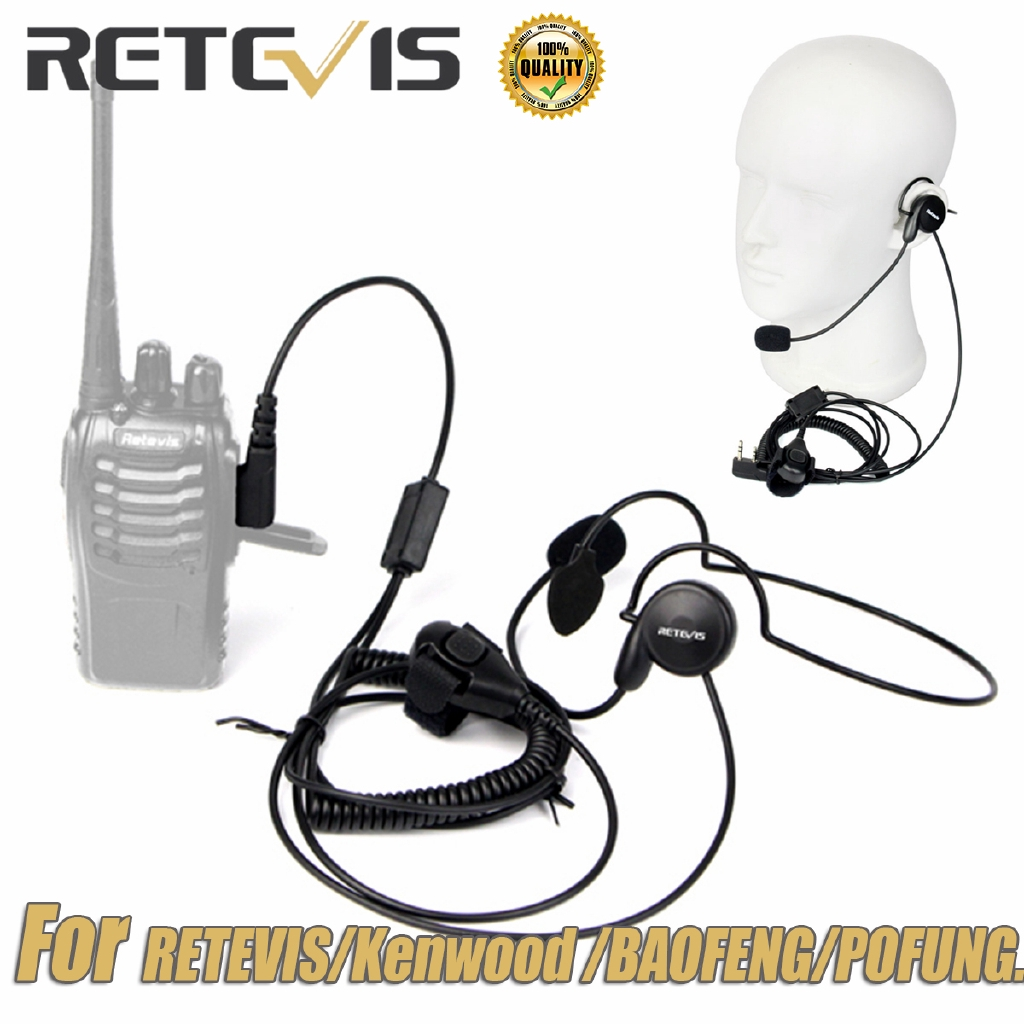 2 PIN PTT Mic Headphone Headset For Retevis H777 Kenwood Baofeng UV5R Radio