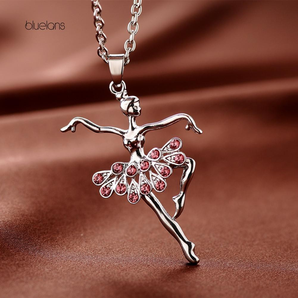 Bluelans Fashion Lady Ballerina Pendant Necklace Rhinestone Charm Jewelry  Xmas Gift  9f0d3a5cdfc7