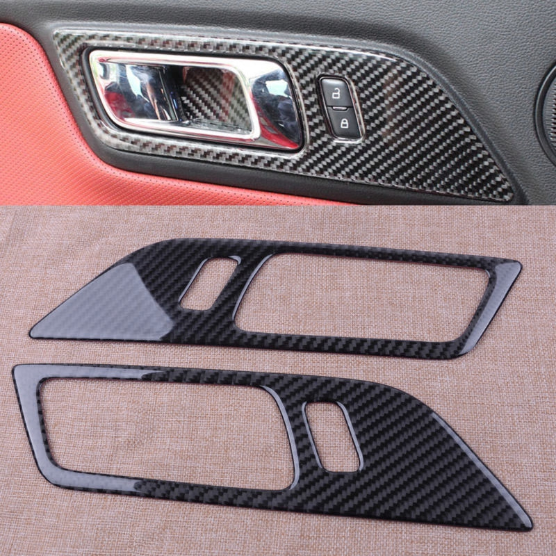Carbon Fiber Inner Door Handle Bowl Frame Trim Cover For Ford Mustang 15-18 2PCS