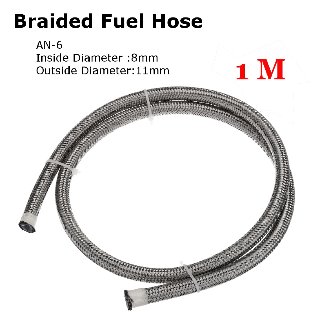 AN-6 6 Fuel Nitrous Stainless Steel Braid PTFE Hose Line Blue Straights NC