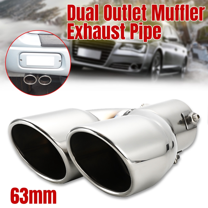 63mm Bent Stainless Blue Car Exhaust Tip Dual Muffler Tail Pipe Cover Universal