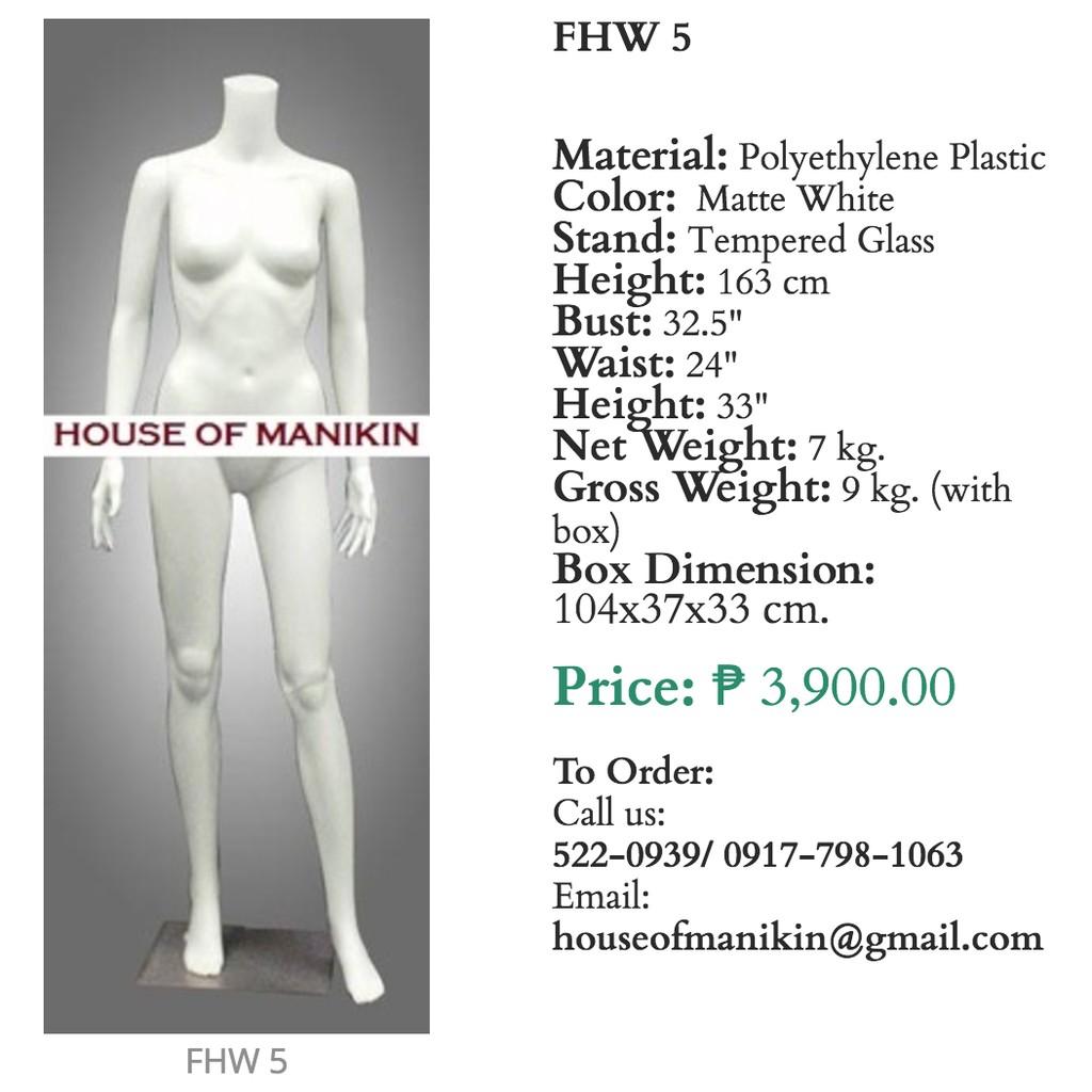 Female Mannequin Headless Matte White FHW 5