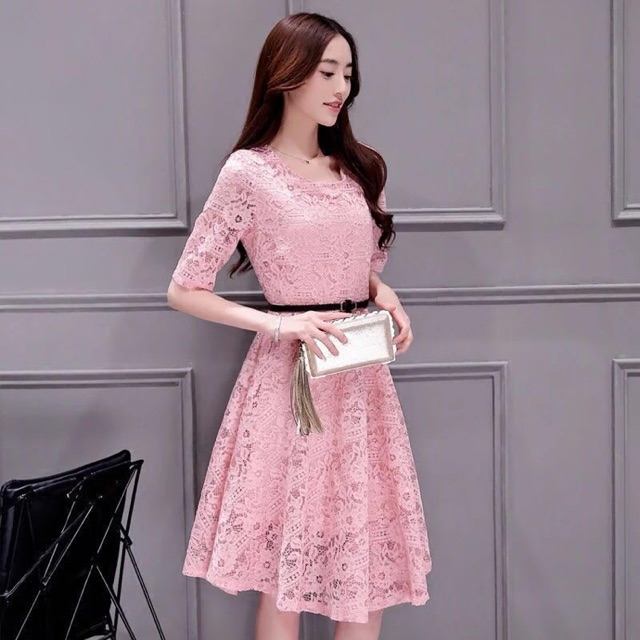 Casual lace dress with belt | Shopee Philippines