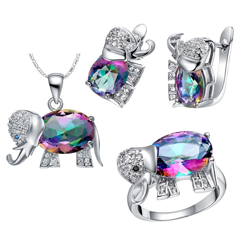 1ea8d5bcc05e5 18K White Gold Plated Elephant Crystal Stud Earrings Ring Necklace Jewelry  Set