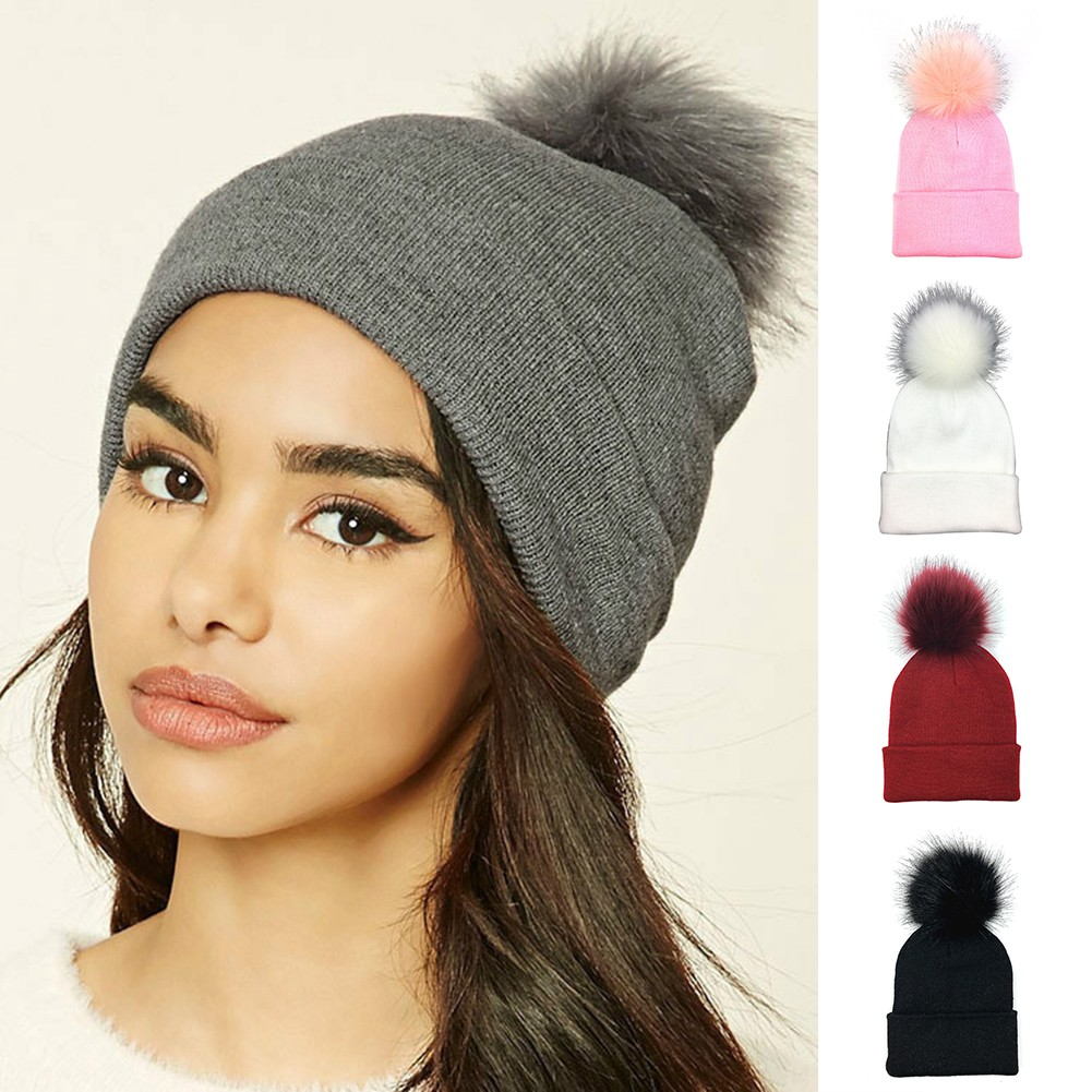 62dc5de05 LK❈Winter Warm Fashion Pom Pom Ball Bobble Hat Women Knitted Beanie Plain  Ski Cap