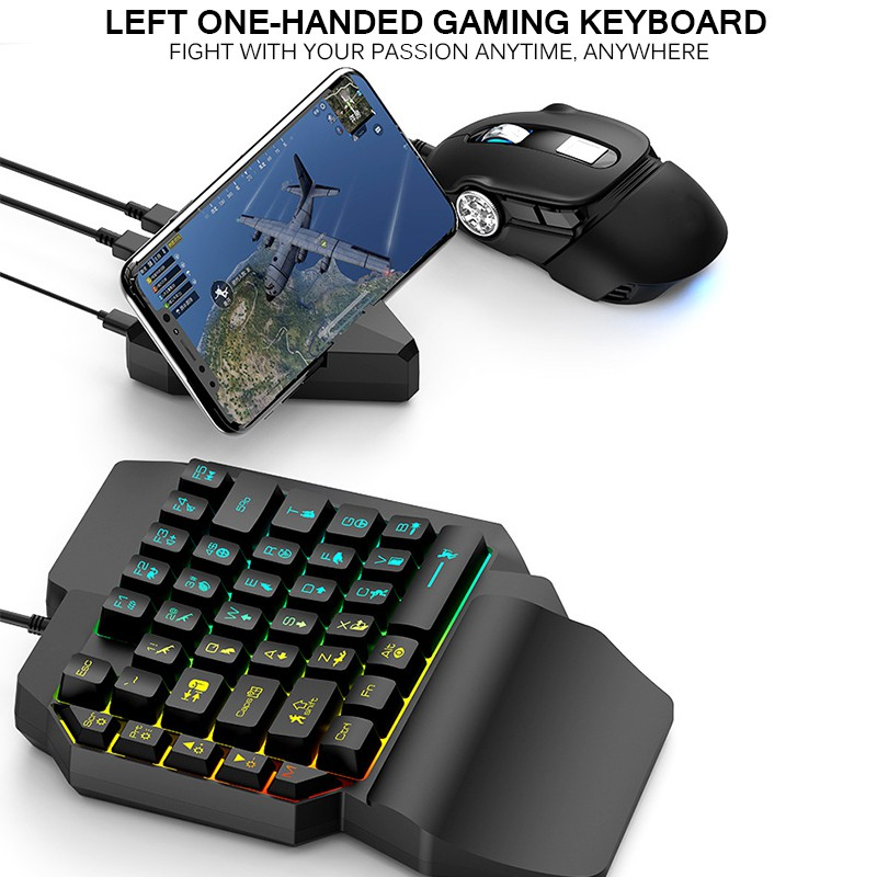 A Lemoning T15 Wired Gaming Keypad with LED Backlight 39 Keys One-Handed Membrane Keyboard