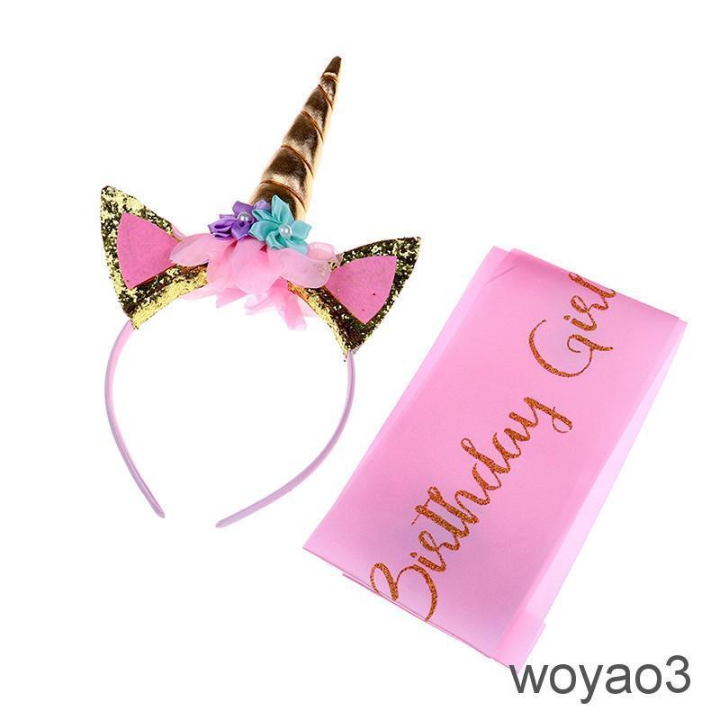 fac059a87c447 Unicorn Birthday Girl Set of Gold Glitter Unicorn Headband and Pink ...