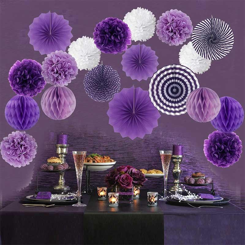 "2 x Pretty Purple 16/"" Hanging Fan Decoration"