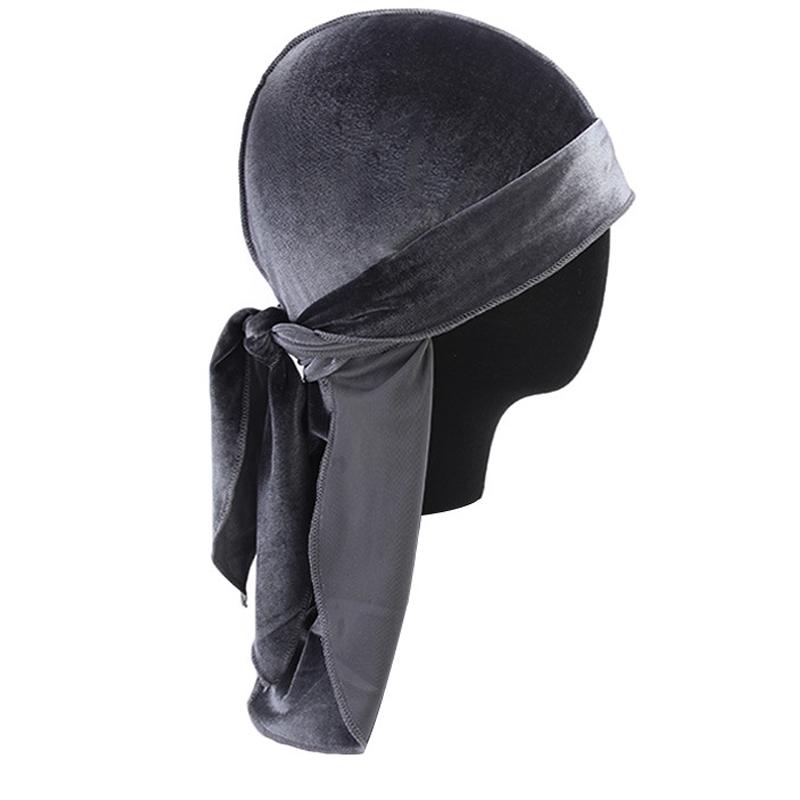 Women Men Long Tail Velvet Bandana Turban Hat Durag Headwear Pirate Cap Wrap