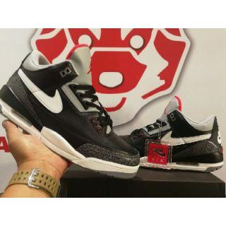 "0b7947b6c55 Air Jordan 3 ""JTH"" Black Cement   Shopee Philippines"